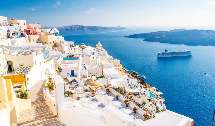 Fira town with caldera view, Santorini, Greece