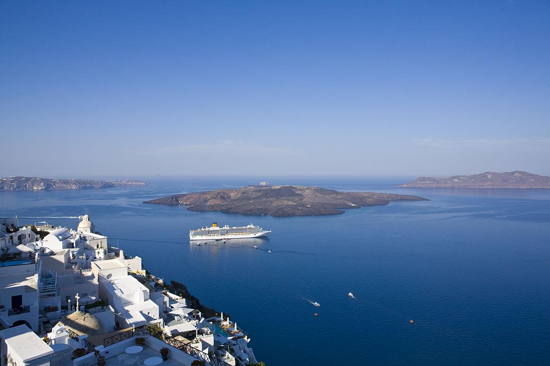 Santorini Caldera from Fira town, Greek island