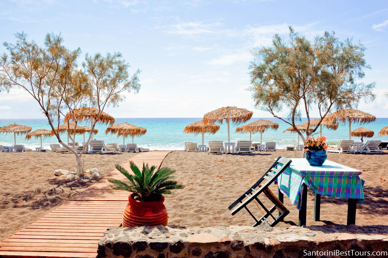 Perissa black sandy beach, Santorini, Greece