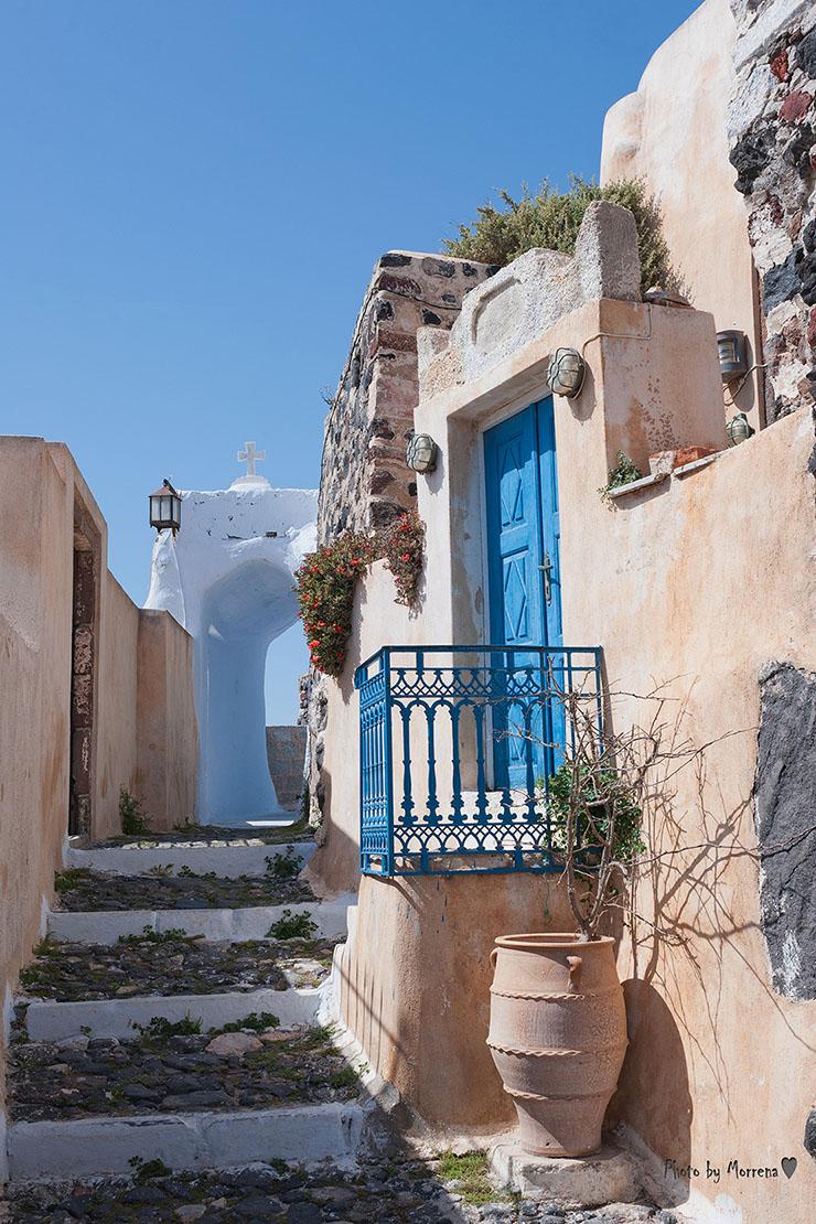 Amazing Pyrgos village. The fortified village in Santorini, Greece